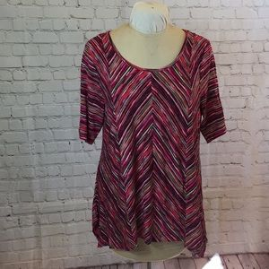 Dana Buchman striped scoop neck tee